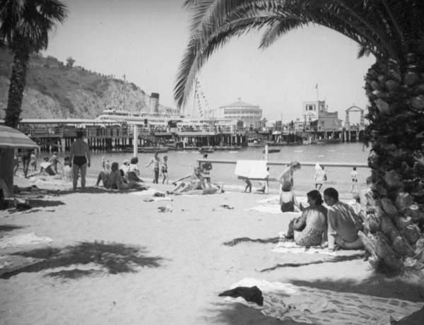 Sunbathing on the beach by the harbor, ca. 1938 | Herman J. Schultheis Collection, Los Angeles Public Library
