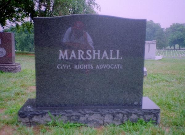 Thurgood Marshall's gravestone at Arlington Cemetery