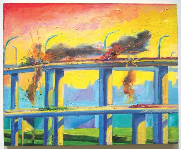 Sunset Crash by Carlos Almaraz from 1982, Courtesy of the Cheech Marin Collection © The Carlos Almaraz Estate | PSTLALA I  LACMA