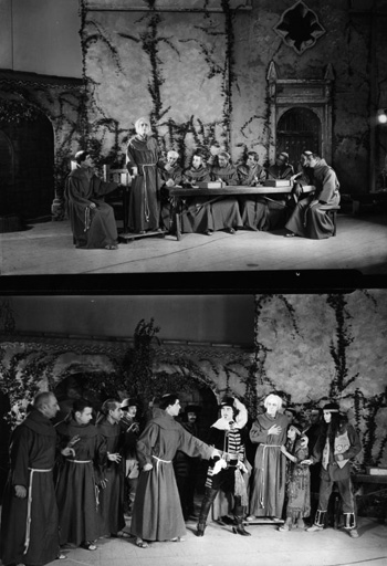 Photo: Actors portray Franciscans, California Indians, and Spaniards in John S. McGroarty's <em>Mission Play</em>, first performed in 1912 across the street from the San Gabriel Mission. | Courtesy of the Los Angeles Public Library