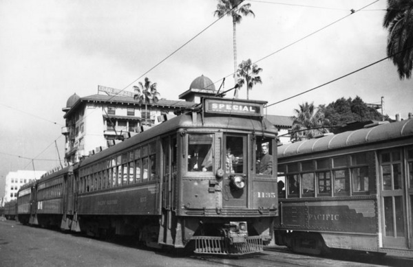 Pacific Electric cars in front of the Hotel Green, ca. 1925 | Los Angeles Public Library