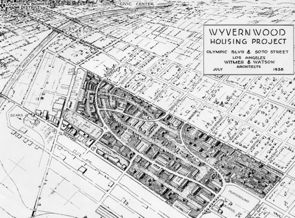 Map of the Wyvernwood Housing Project in Boyle Heights in July 1938. Drawing by the architects, Witmer and Watson | Security Pacific National Bank Collection, Los Angeles Public Library