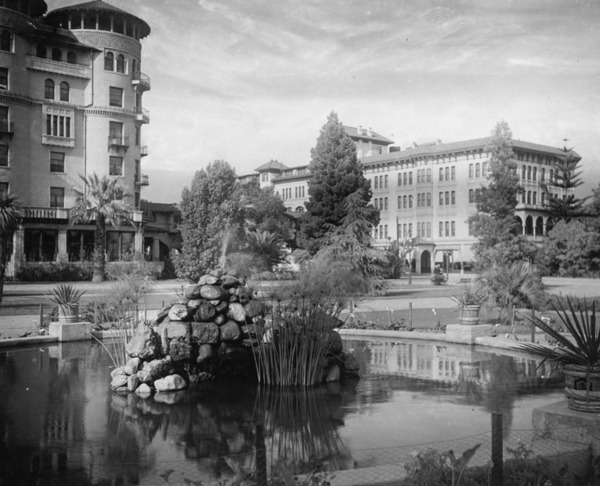 Panoramic view of Hotel Green, looking northeast from Central Park ca. 1900 | Los Angeles Public Library
