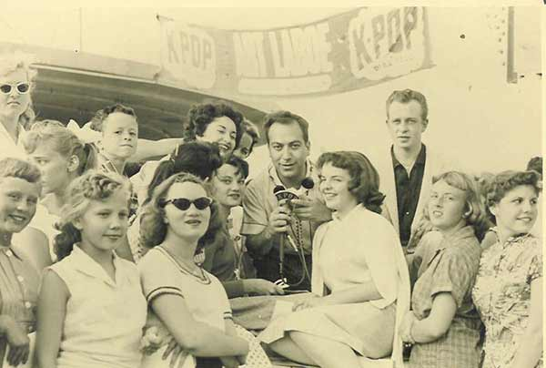 Art Laboe and fans for KPOP Show at Scriveners ca. 1957 | Courtesy: Art Laboe Archives