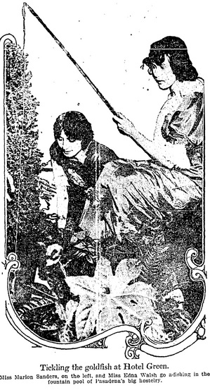 'Tickling Goldfish at Hotel Green' | Los Angeles Times, January 6, 1915