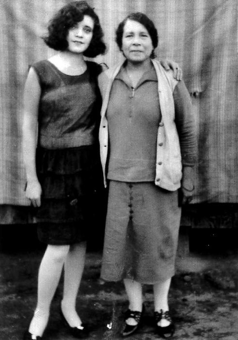 L to R: Frances Mendoza Ortiz and Luisa 'Mama Chita' Rivera Mendoza on Main St. in Hicks Camp ca. late 1920's | Courtesy of La Historia Society of El Monte