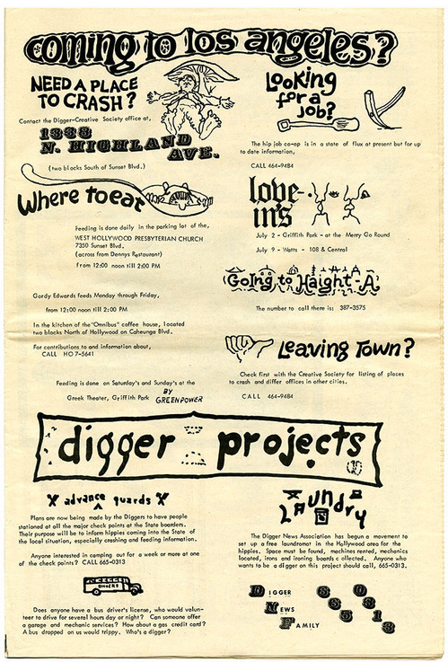 L.A. Diggers' outreach services, Digger News Association, 1967 | Courtesy California Historical Society