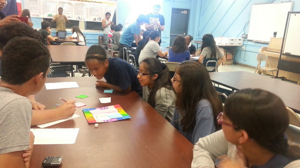 Foshay Tech Academy juniors playtesting games based on Common Core Standards with 6th graders