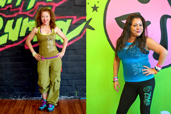 Veronica Marquez (L) and Judith Olalde (R) in their Zumba attire