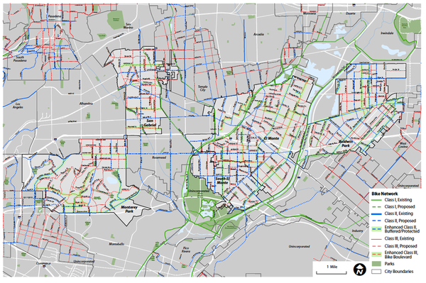 Proposed San Gabriel Valley Bike Network (click to enlarge)