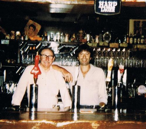 Kim Gardner with his father at the original Cat & Fiddle in Laurel Canyon
