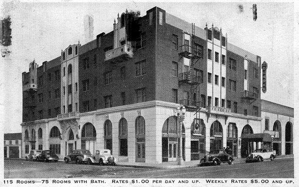 Postcard view of Dunbar Hotel, ca. 1940