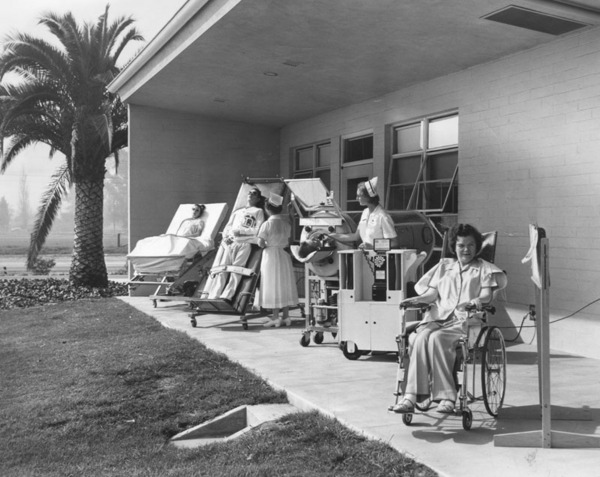 One of the covered porches at the Rancho Los Amigos Hospital, 1955 | Photo: Security Pacific National Bank Collection, Los Angeles Public Library
