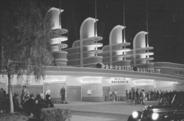 Exterior of the Pan Pacific Auditorium, ca 1930s | Photo: Herman J. Schultheis Collection, Los Angeles Public Library