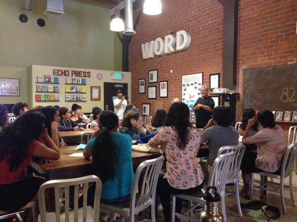 Poet Laureate Luis Rodriguez visits 826LA in Echo Park | Photo: 826LA Facebook