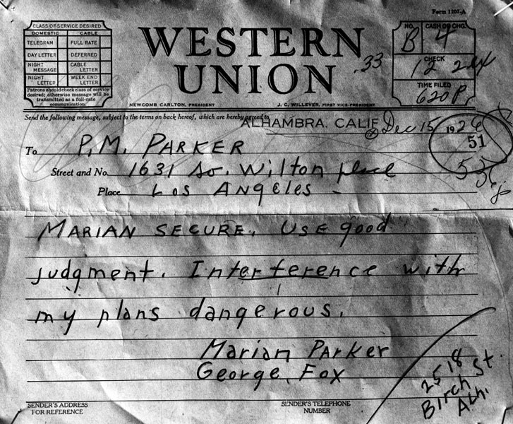 One of the telegrams Hickman sent | Photo: Los Angeles Public Library