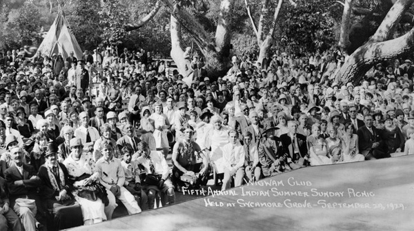 'Fifth Annual Indian Summer Picnic' at Sycamore Grove Park, September 29, 1929. Dr. Hiner was part Native American, and he an Anna are among the crowd. | Photo courtesy of Troy Evans