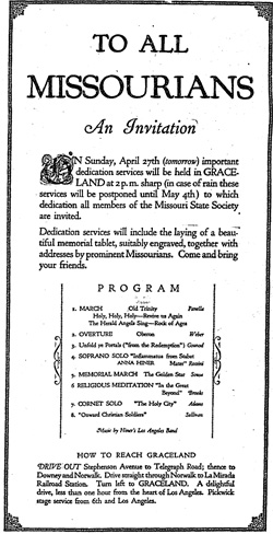 Invitation to all Missourans for a Missouri State Society gathering, with the Hiner Band performing | Los Angeles Times, April 26, 1924