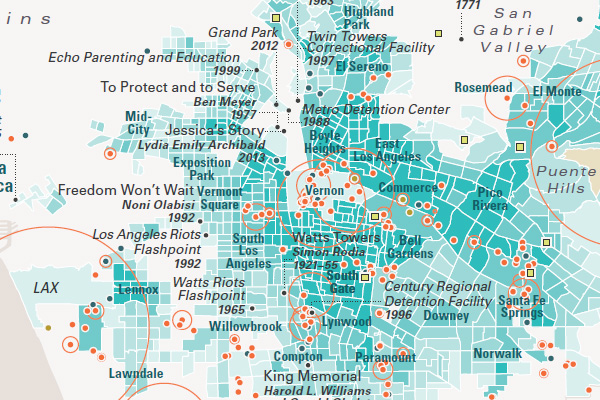 Excerpt from the map 'Landscapes of Racial Violence' from 'LAtitudes