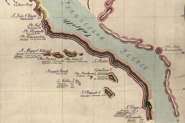 An excerpt from 'A Map Showing the Progress of Discovery on the West Coast', 1857, as discussed in Schulten's book