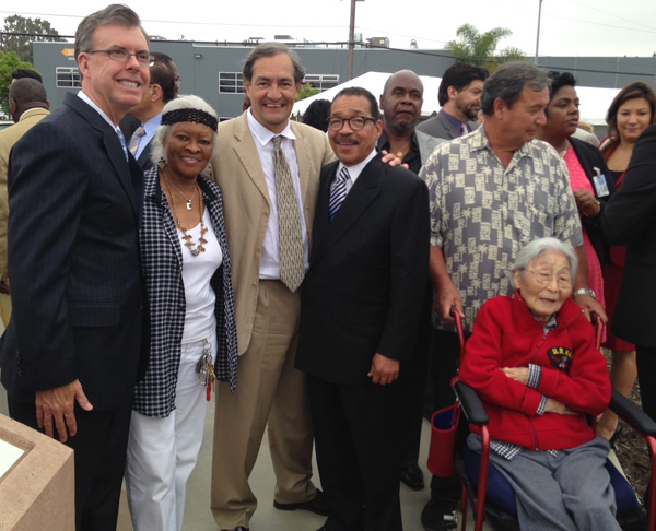 Ribbon Cutting June 26, 2014, City of L.A. Engineer Gary Lee, Community Leader Opal Young, The City Project's Robert García, City Council President Herb Wesson, and Korean Immigrant Activist Susan Ann Cuddy