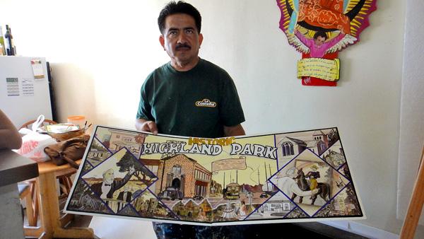 Rodolfo Cardona with his 'Historic Highland Park' painting
