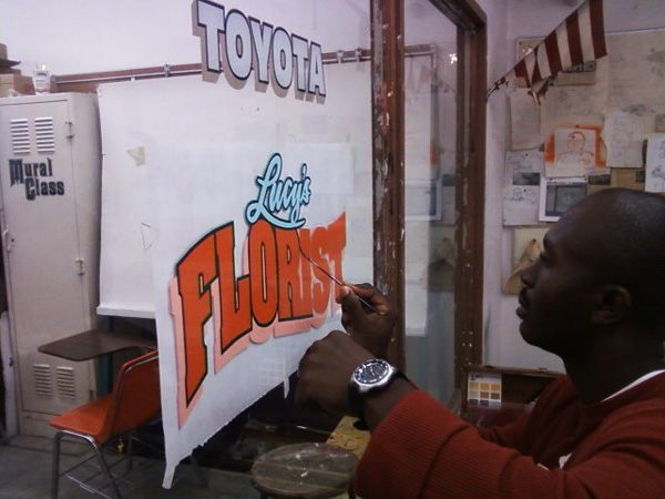 Working on Florist sign