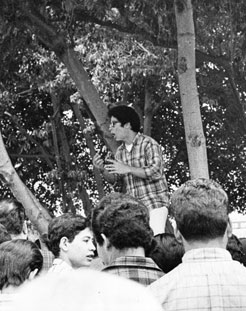 John Ortiz, Mexican-American student leader at James A. Garfield High School, addressing assembled students during a walkout. Photo dated: March 7, 1968. Courtesy of the Los Angeles Public Library