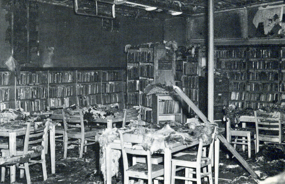 Interior view of the Los Angeles County Library Willowbrook Branch soon after the 1965 Watts Uprising I Photo courtesy of the California State University, Dominguez Hills archives -- Watts Then and Now exhibit.