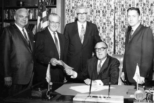 Gov. Pat Brown Signing CSUDH Bill 1966 I Photo Courtesy of CSUDH Archives