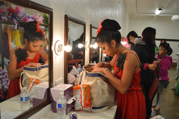 Samantha Ubillus prepares for class at Shining Star Dance Academy | Photo: Connie Ho