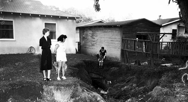 Open storm drain on El Paso Dr., 1952