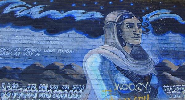 La Adelita, mural at Ramona Gardens designed by Carlos Almaraz, 1976.