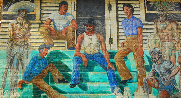 Ghosts of the Barrio by Wayne Healy, 1974. Mural at Ramona Gardens for Mechicano Art Center.