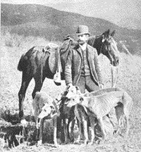 Dr. Charles Frederick Holder with the Pasadena's Valley Hunt hounds.
