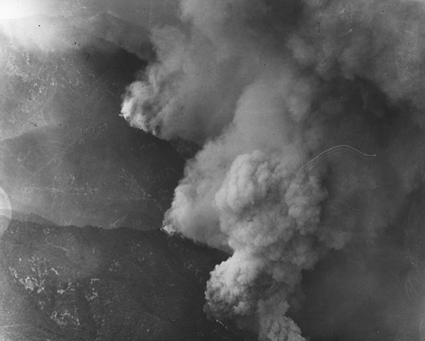 Forest fires like this one in San Gabriel Canyon in 1924 occurred throughout the 1800s. | Courtesy of the Los Angeles Public Library