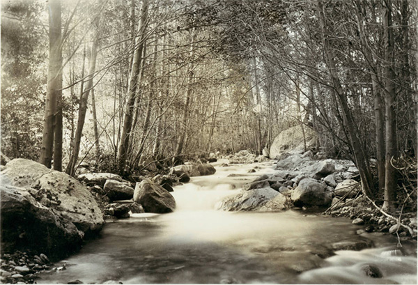 San Antonio Creek near the hotel at Camp Baldy, ca.1930 | Digitally reproduced by the USC Digital Library; From the California Historical Society Collection at the University of Southern California