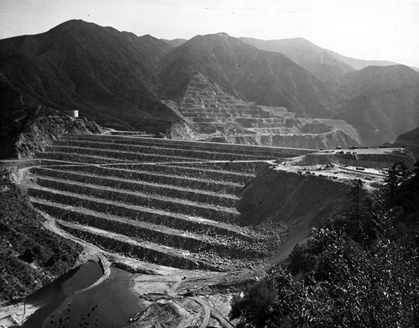 View of the terraced slopes of the San Gabriel No, 1 | Courtesy of the Los Angeles Public Library