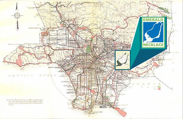 1929 Olmsted-Bartholomew Map, Emerald Necklace, Los Angeles. Click to enlarge | Courtesy of Amigos de los Rios