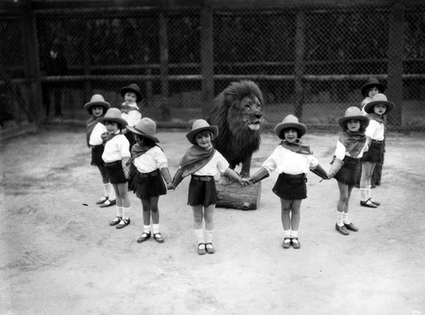 Group of children stand posed with a lion at Gay's Lion Farm, in El Monte. | Courtesy of Los Angeles Public Library