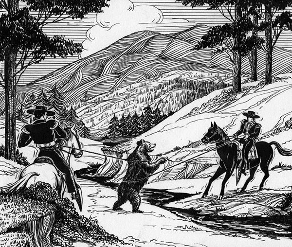 Vaqueros lasso a grizzly bear | Courtesy of the Los Angeles Public Library