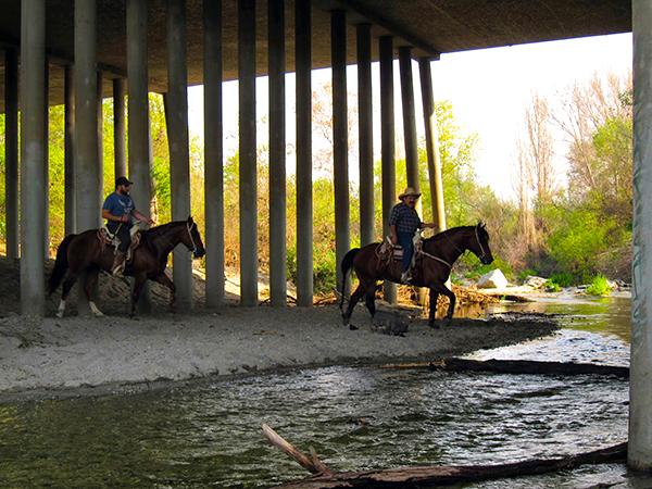 Equestrians pass under the San Gabriel Blvd bridge in Marrano Beach | Photo: Daniel Medina