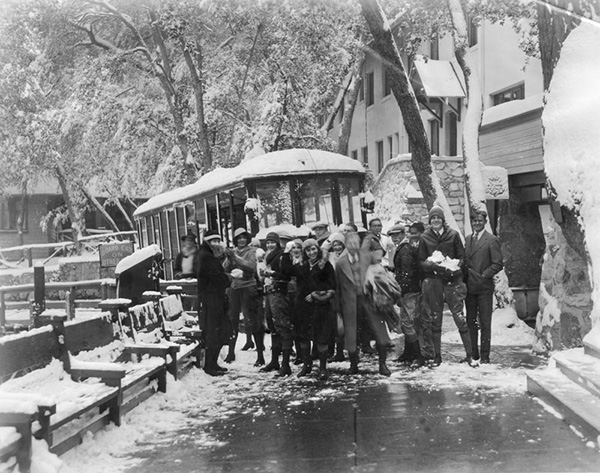 Redondo High School students arrive at Mt. Lowe Tavern for a snow battle royal. Photo dated: January 22, 1930. | Courtesy of the Los Angeles Public Library