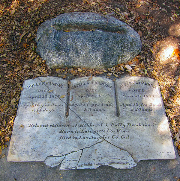 The gravesite of Polly, age 16, Estella, age 13, and Albert, age 19, in Monrovia Canyon Park. The children are no longer interred at this site. | Photo: Daniel Medina