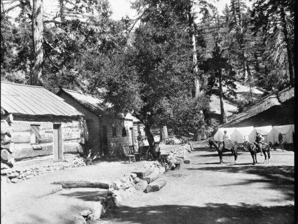 Photograph of a view of A.G. Strain's camp at Mount Wilson, ca.1898. | Digitally reproduced by the USC Digital Library; From the California Historical Society Collection at the University of Southern California