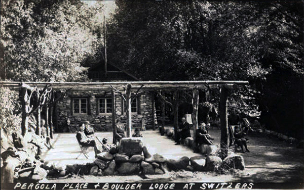 Pergola Place and Boulder Lodge at Switzer's Camp, May 1, 1920 | Digitally reproduced by the USC Digital Library; From the California Historical Society Collection at the University of Southern California