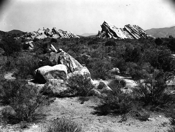 View of the rock formation at Vasquez Rocks, near Agua Dulce, the reputed hideout of the bandido Tiburcio Vasquez. | Courtesy of the Los Angeles Public Library