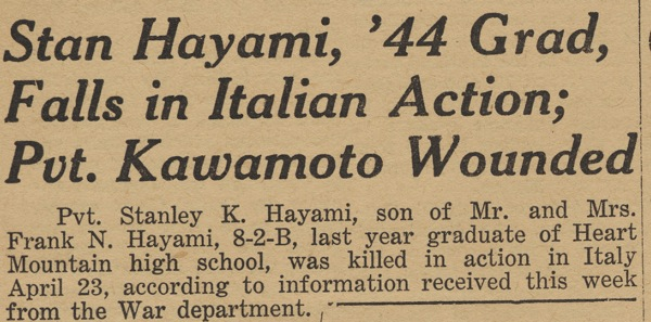 Heart Mountain Sentinel, the camp newspaper, reports the death of Stanley Hayami, 12 May 1945. Gift of Grace Warren, Japanese American National Museum