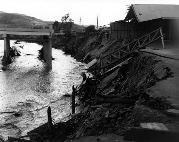 Flood damage to a bridge in Studio City, 1938. Courtesy of the USC Digital Library.