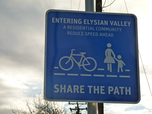 Recently paved, this makes a great path for bicyclists, however, the narrow pathway is designated for both pedestrians and bikes.